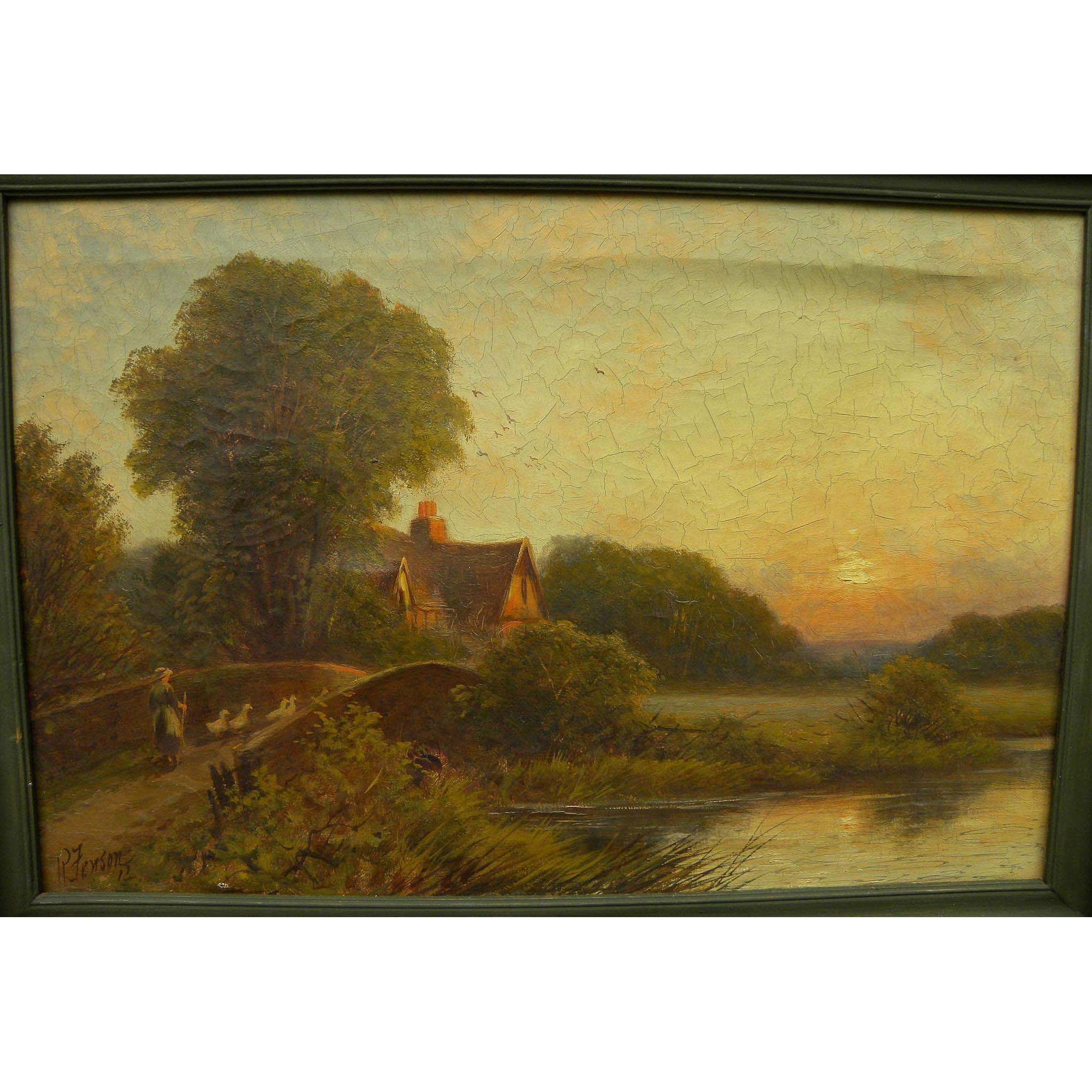 ROBERT ROBIN FENSON (active 1889-1914) English painting of cottage and pond in sunset landscape