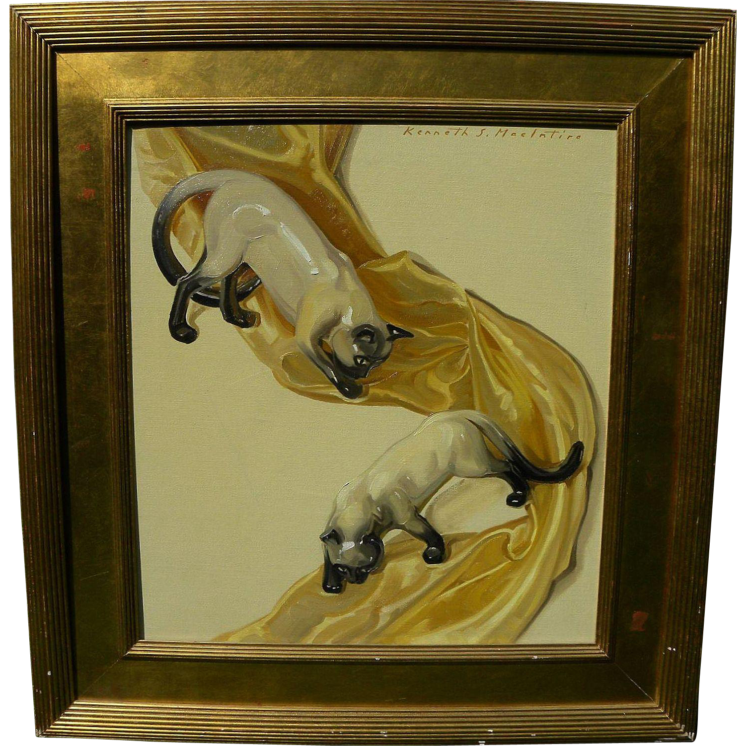 KENNETH STEVEN MACINTIRE (1891-1979) elegant highly decorative Art Deco inspired oil painting of Siamese cats by noted artist and illustrator