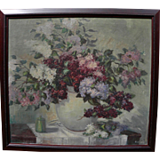 Vintage impressionist American floral still life painting signed