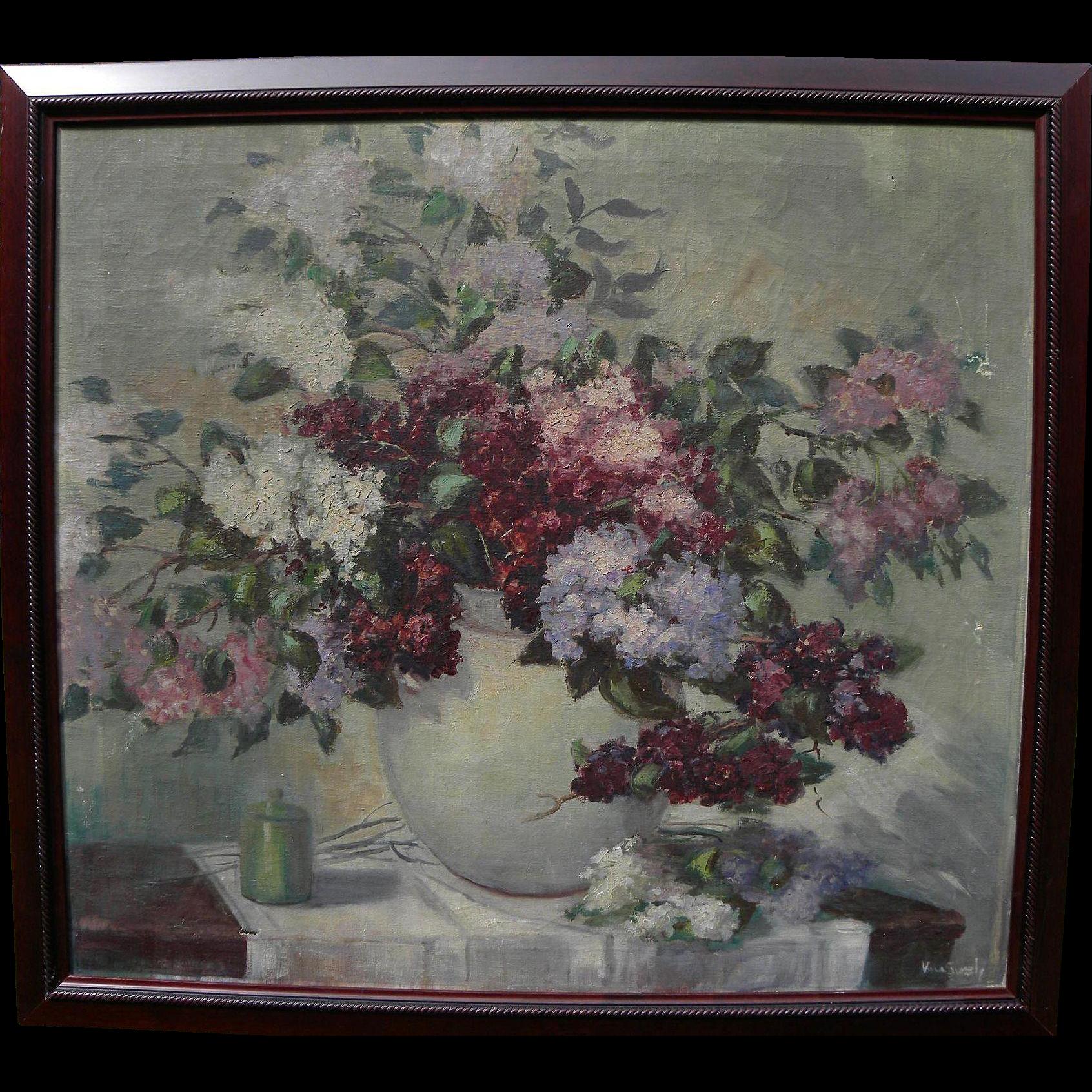 Vintage impressionist American floral still life painting signed