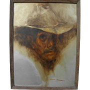 RAMON KELLEY (1939-) Southwestern American art 1970 painting of man in cowboy hat by well listed artist