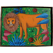 Haitian art signed colorful naive painting of lion in tropical fantasy forest