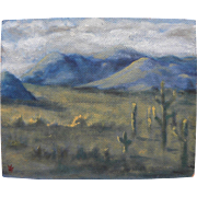 Decorative small painting of southwestern desert landscape