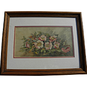 Circa 1900 signed watercolor of wild roses