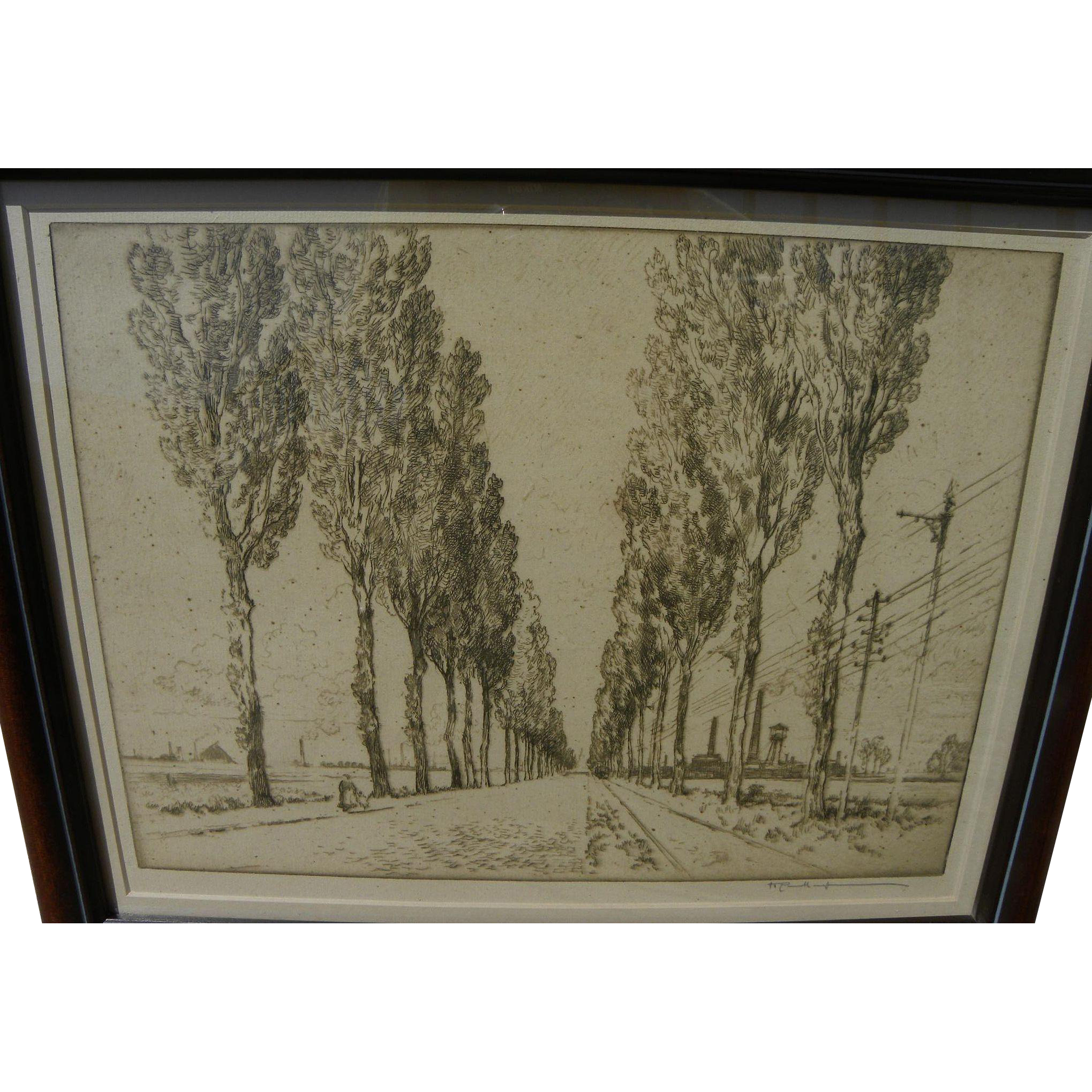 "JOSEPH PENNELL (1860-1926) fine etching ""The Avenue, Valenciennes"" by important American printmaker"