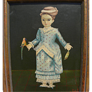 AGAPITO LABIOS (1898-1996) Mexican naive art painting of a little girl with bird by the noted artist