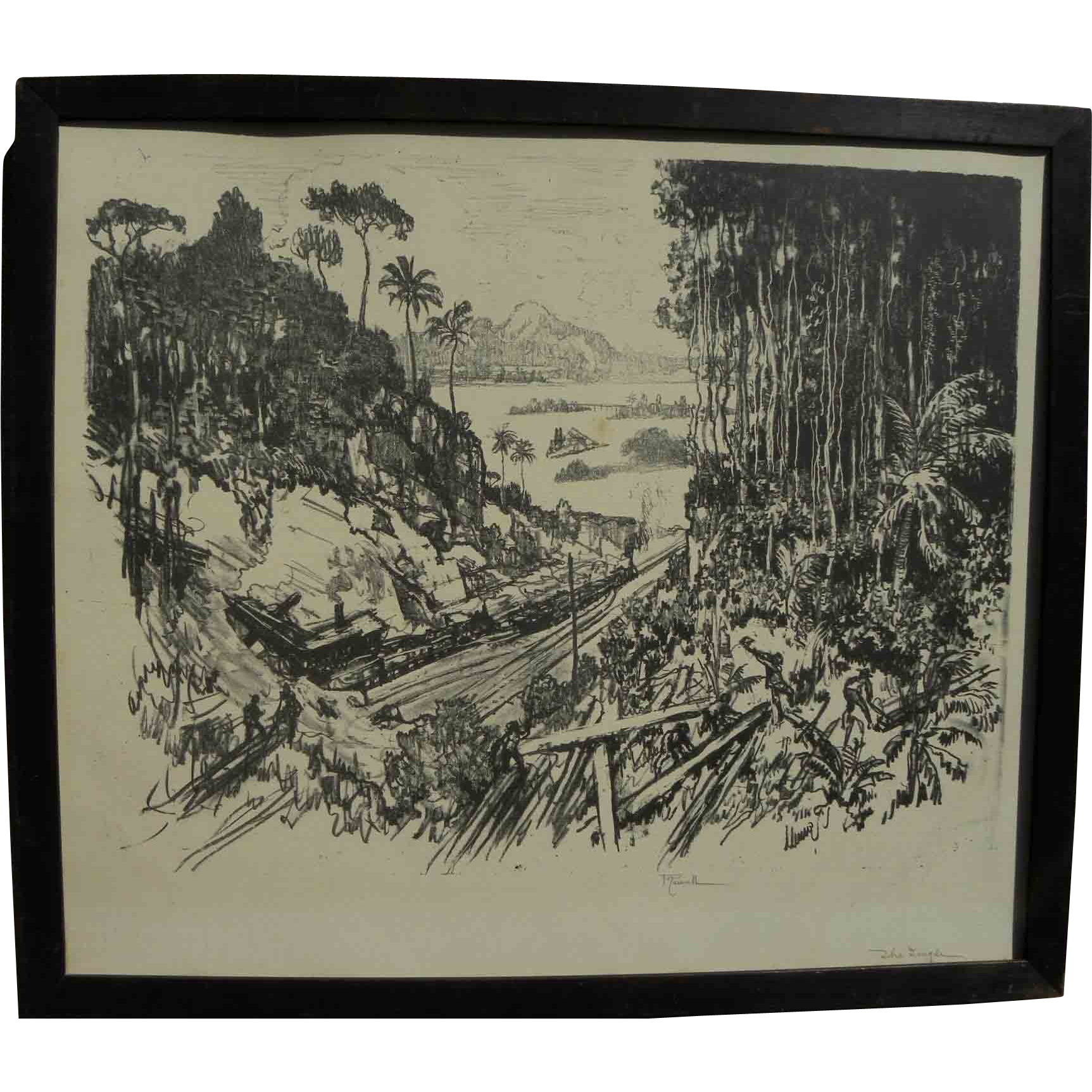 "JOSEPH PENNELL (1860-1926) large scarce 1912 lithograph ""The Jungle"" by important American printmaker"