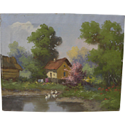 Eastern European spring landscape painting in style of Laszlo Neogrady