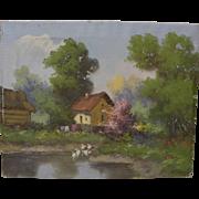 Eastern European spring landscape painting in style of Laszlo Neogrady