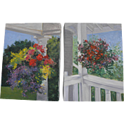 PAIR of contemporary impressionist paintings of  hanging flower baskets on porches