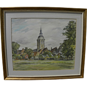 European 20th century signed impressionist watercolor painting of a church and village