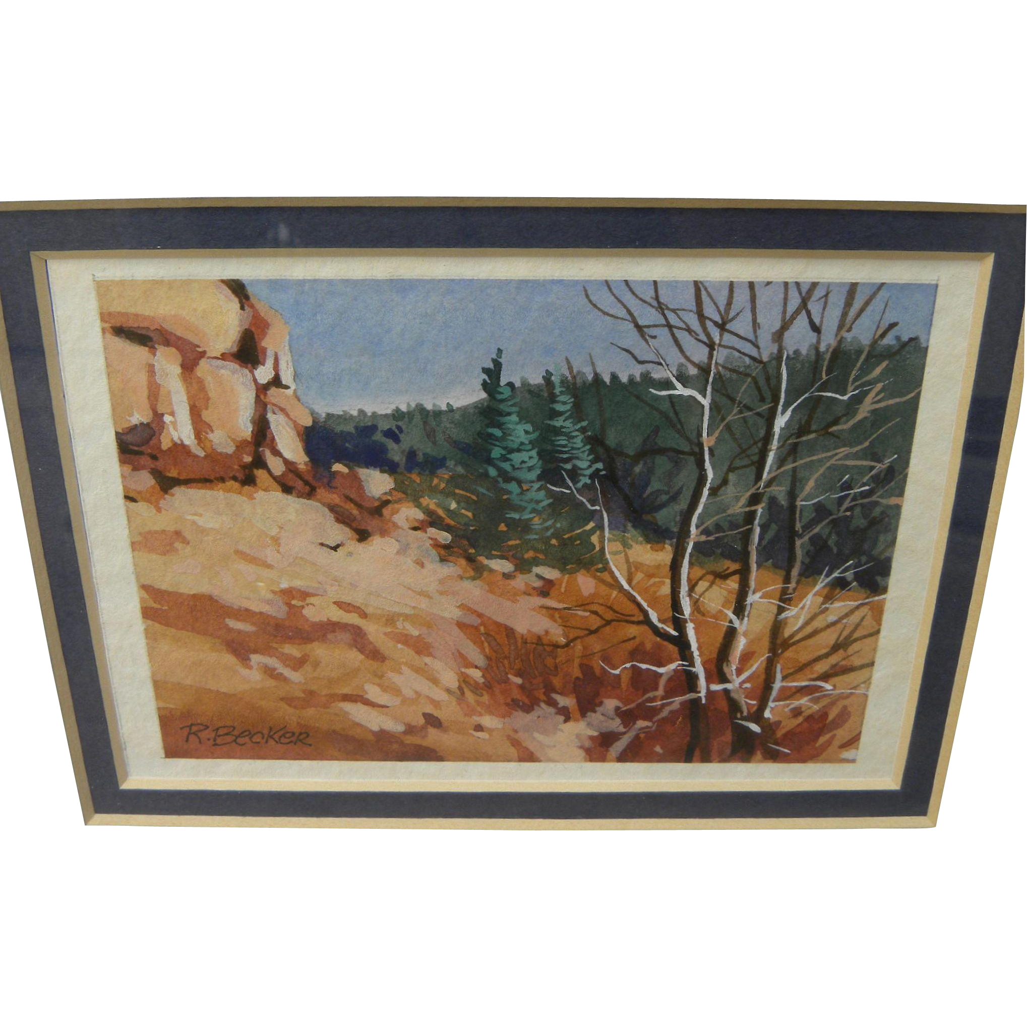 Miniature contemporary watercolor painting of a rocky hillside signed
