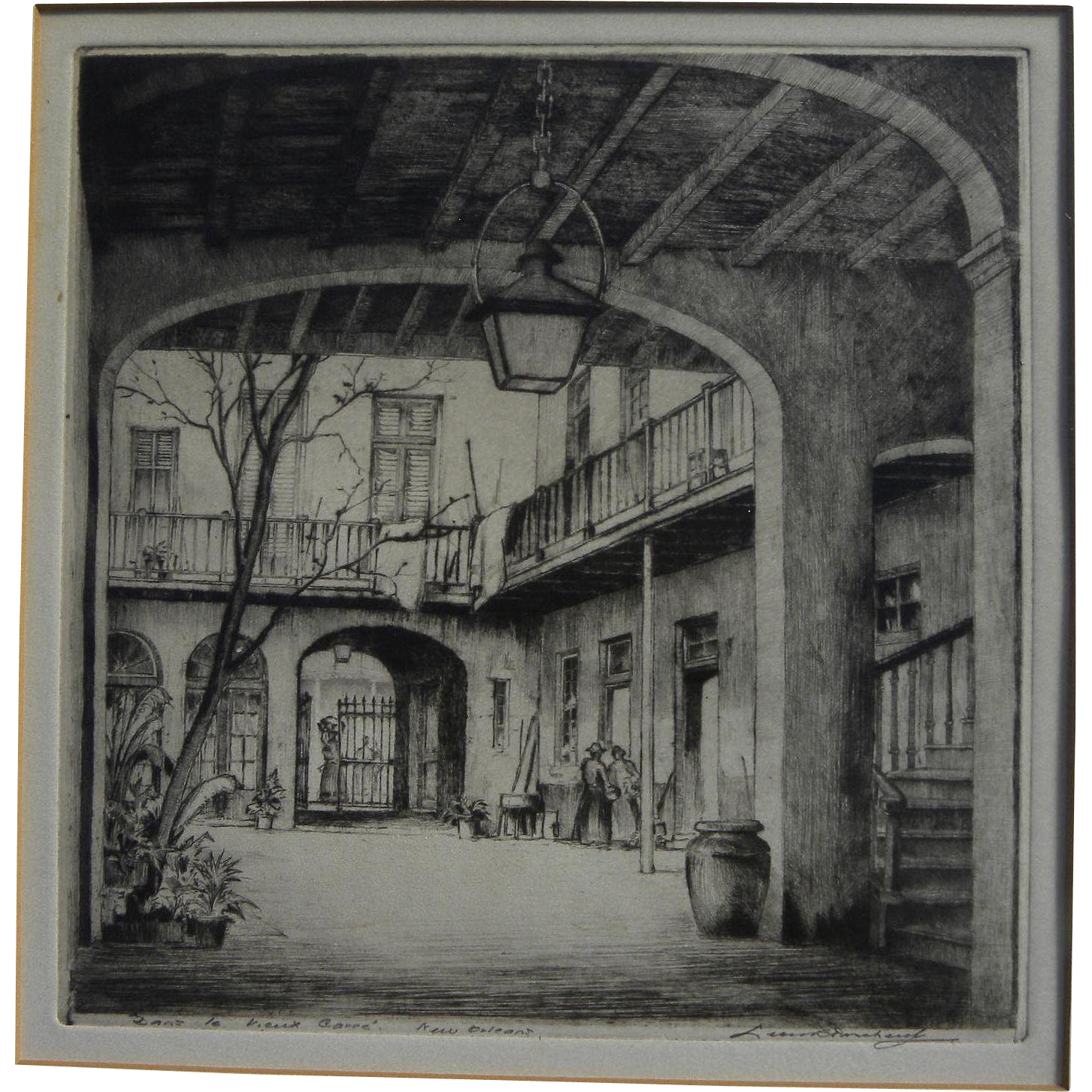 LEON PESCHERET (1892-1971) etching of New Orleans French Quarter courtyard pencil signed