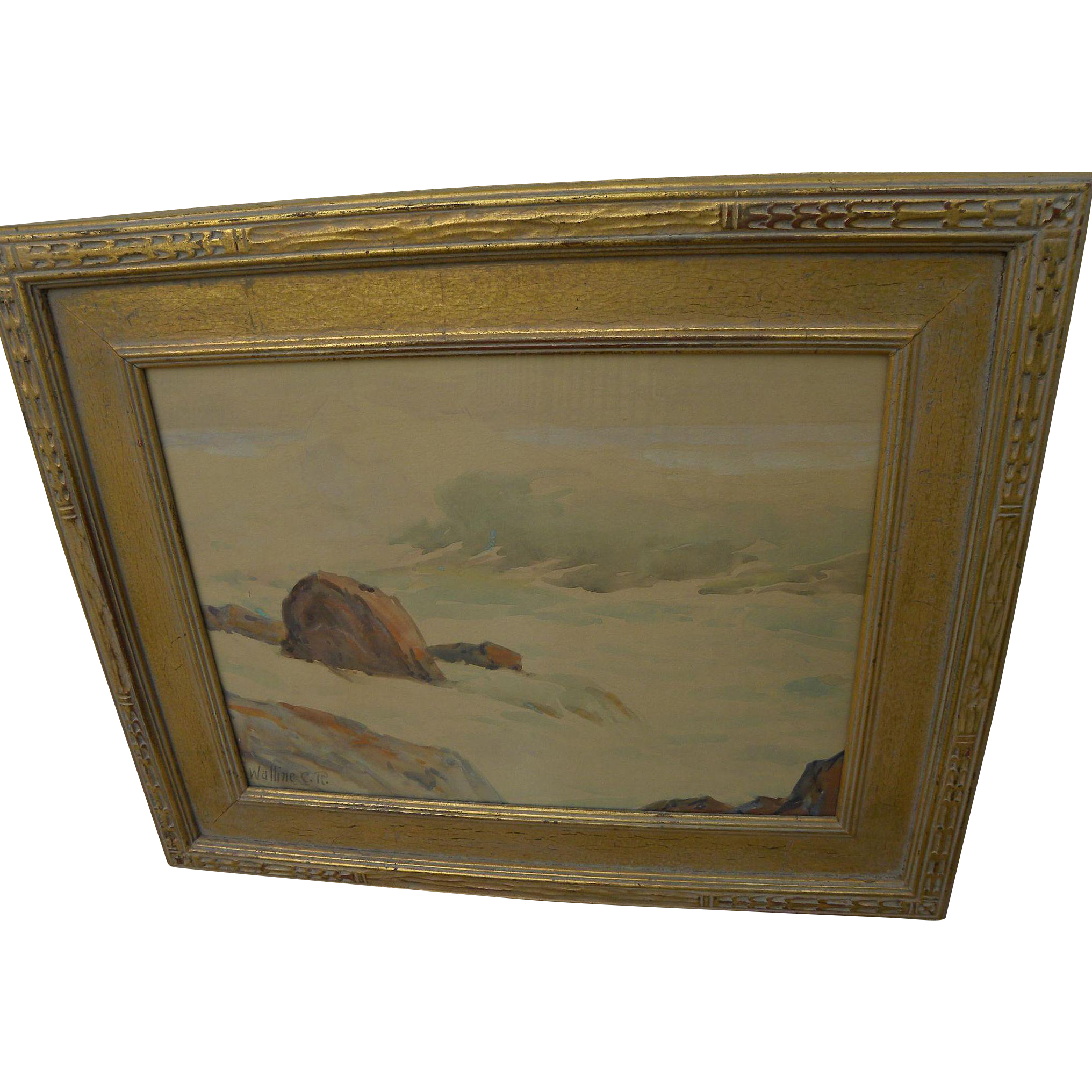 CARL R. WALLINE (1884-1976) California plein air art 1940's watercolor coastal seascape nicely framed