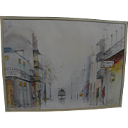 NESTOR FRUGE (1916-) New Orleans Louisiana art original watercolor painting