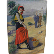 "Vintage ""Golden California"" 1930's nostalgic allegorical painting of orange gatherer in coastal landscape"