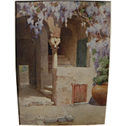 G. DE LUCA circa 1900 fine watercolor painting of sunwashed Amalfi Coast Mediterranean courtyard with wisteria