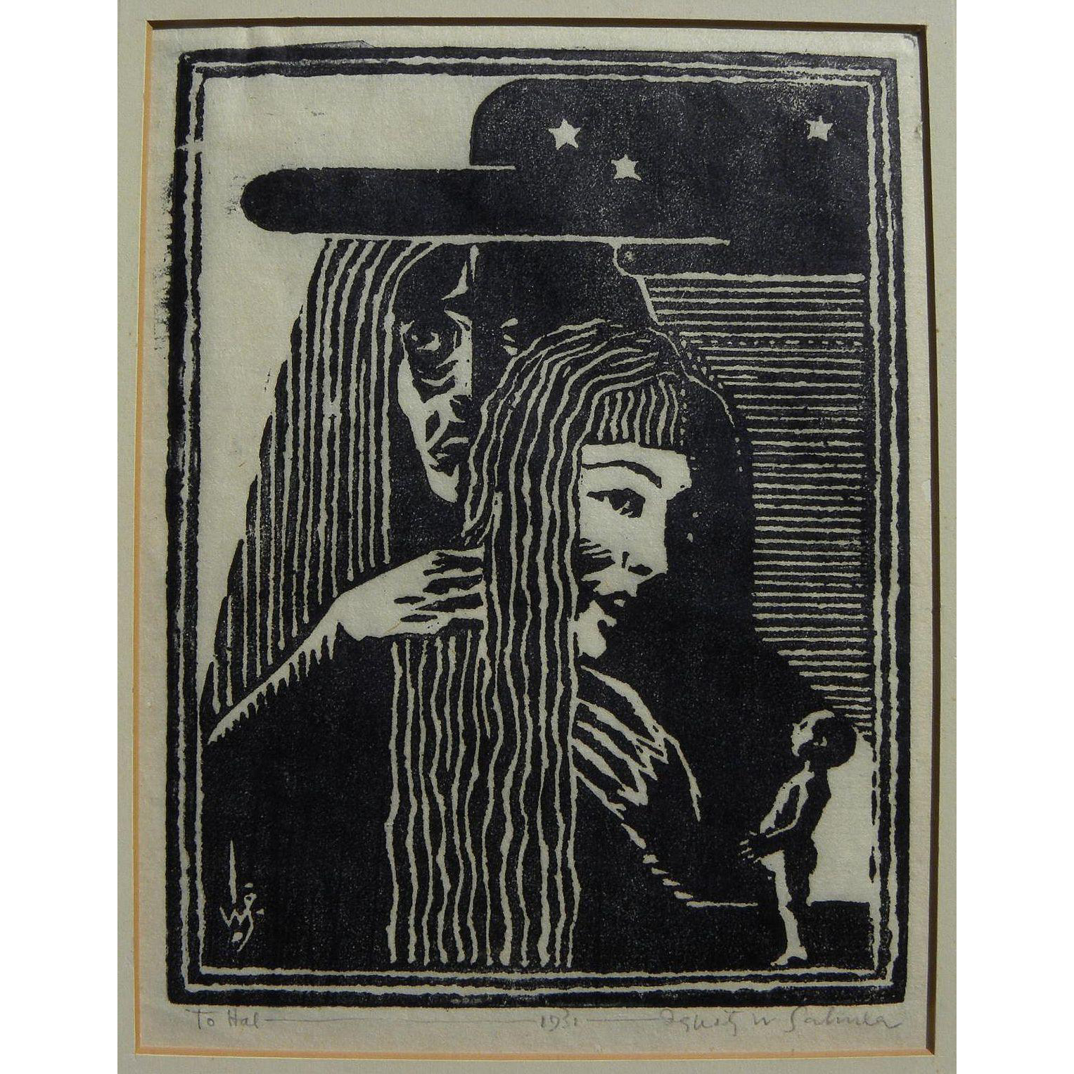 IGNATZ SAHULA-DYCKE (1900-1982) woodblock signed 1931 print by Czech-born artist and illustrator