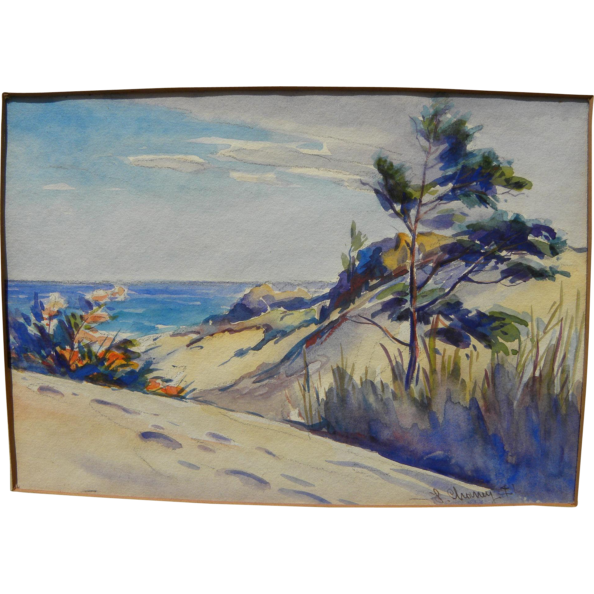LESTER JOSEPH CHANEY (1907-1998) watercolor painting of Indiana coastal dunes on Lake Michigan