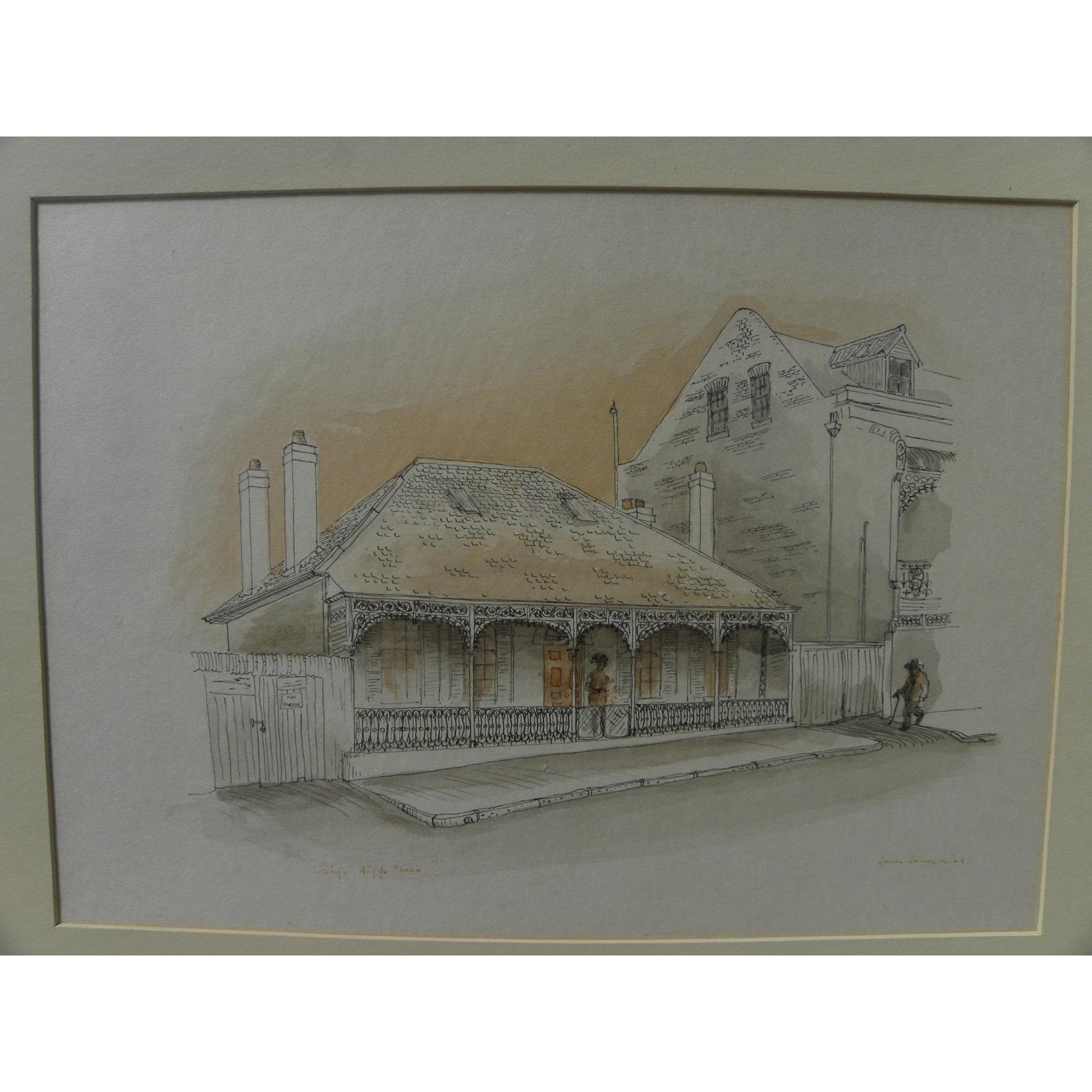 New Orleans art original ink and watercolor drawing of historical houses signed and dated 1968