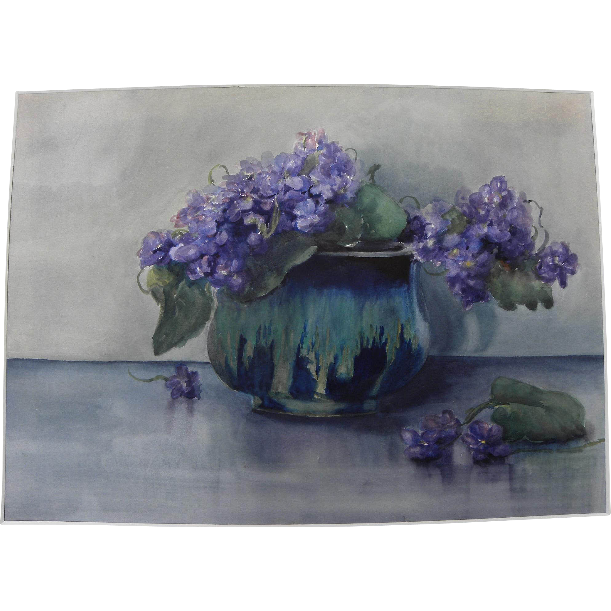 Vintage watercolor still life painting