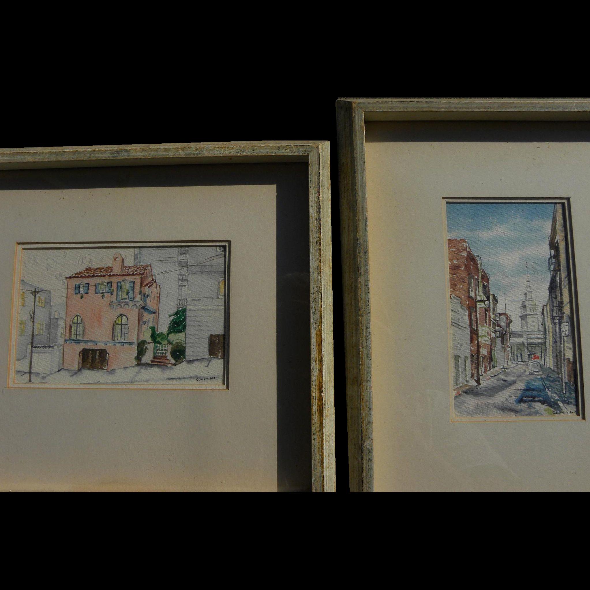 PAIR San Francisco 1960's watercolor paintings of familiar scenes
