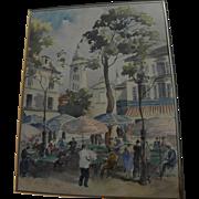 Montmartre Paris impressionist signed watercolor circa 1960's