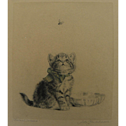 META PLUCKEBAUM (1876-1945) cat art pencil signed etching of kitten watching a fly by noted artist
