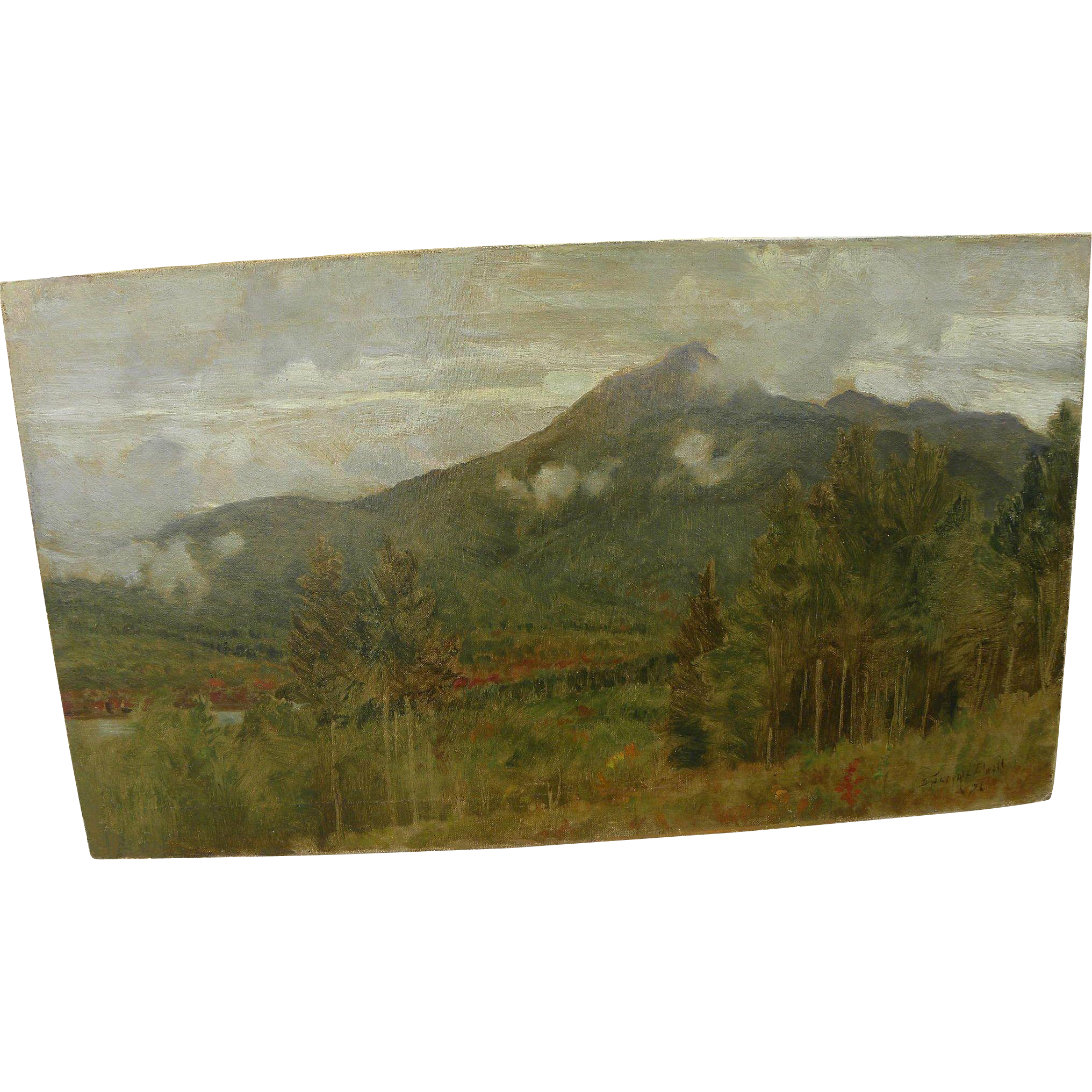 D. JEROME ELWELL (1847-1912) impressionist landscape oil painting of mountains by noted Massachusetts artist