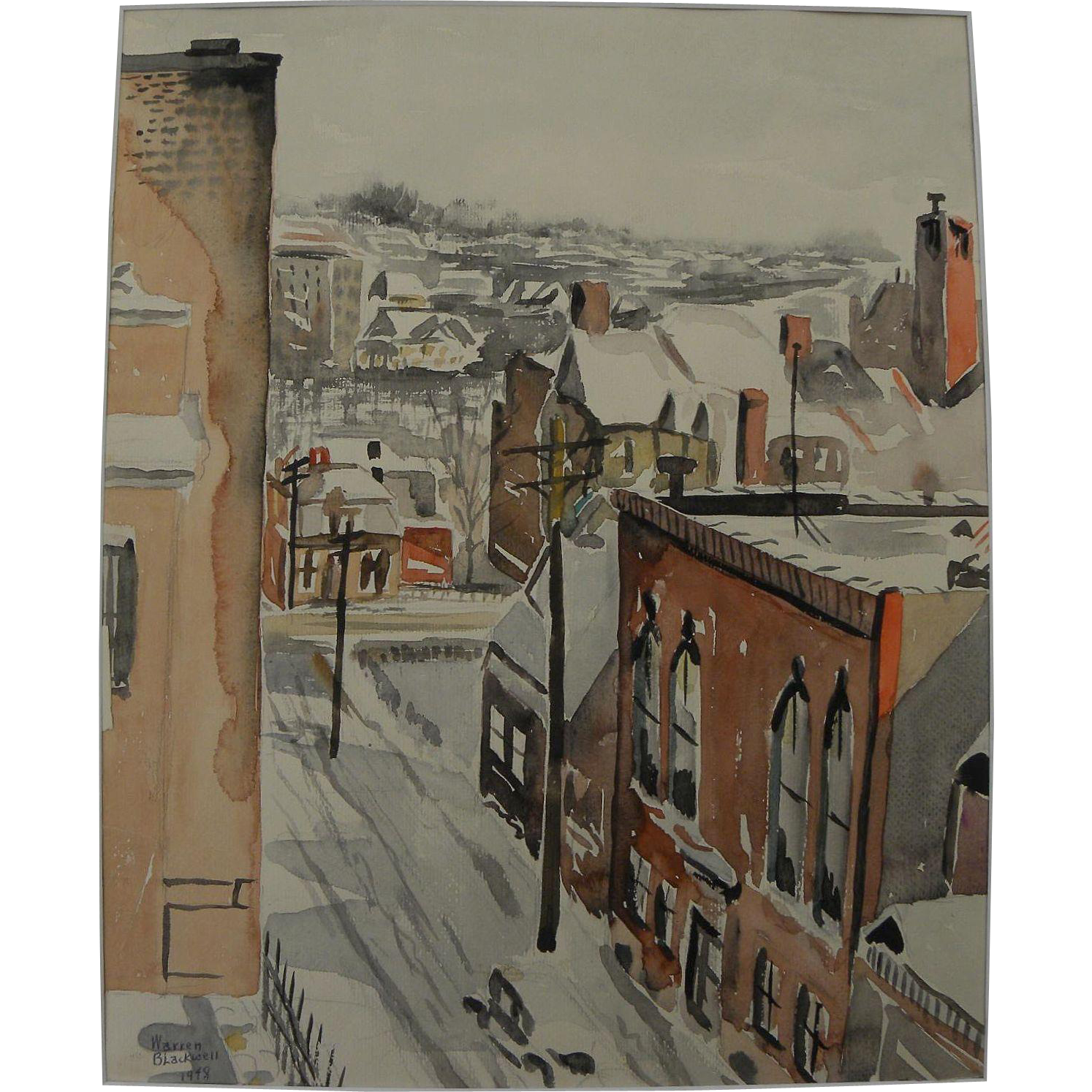 American Scene style 1948 watercolor of buildings and streets signed Warren Blackwell
