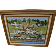 Americana folk art contemporary hand embroidered landscape scene after Charles Wysocki