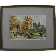 CHARLES BLONDIN (1913-) pencil signed limited edition Paris print of scene along the Seine River including Notre Dame