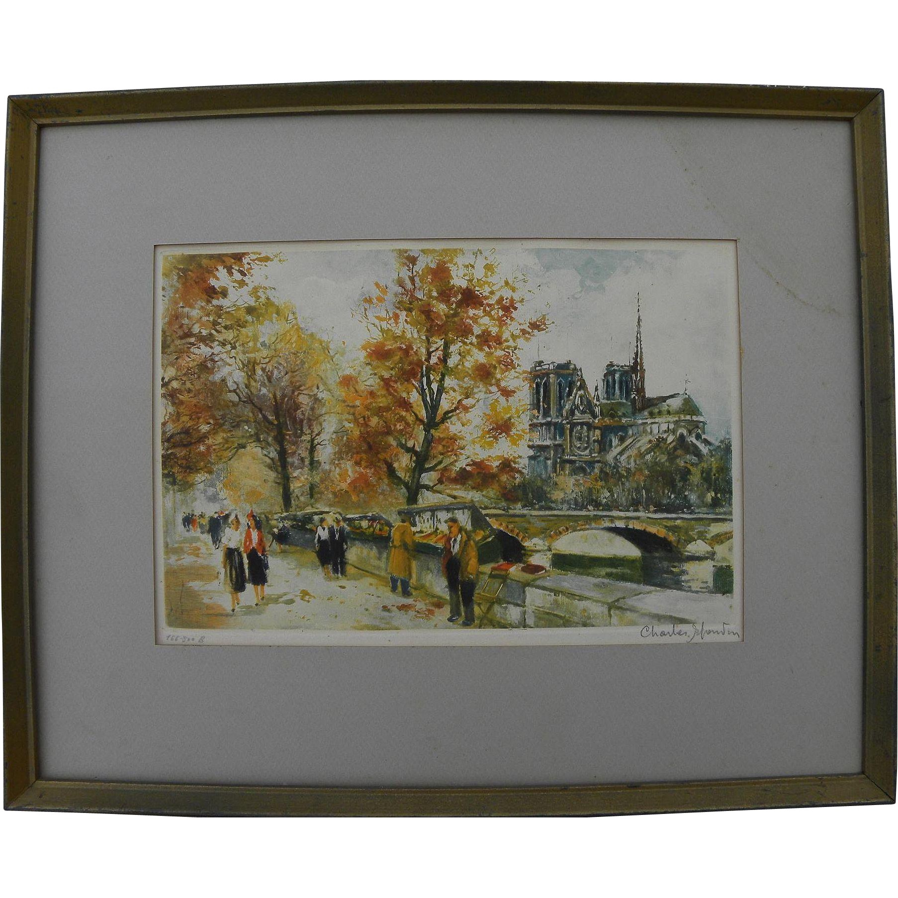 CHARLES BLONDIN (1913-1991) pencil signed limited edition Paris print of scene along the Seine River including Notre Dame