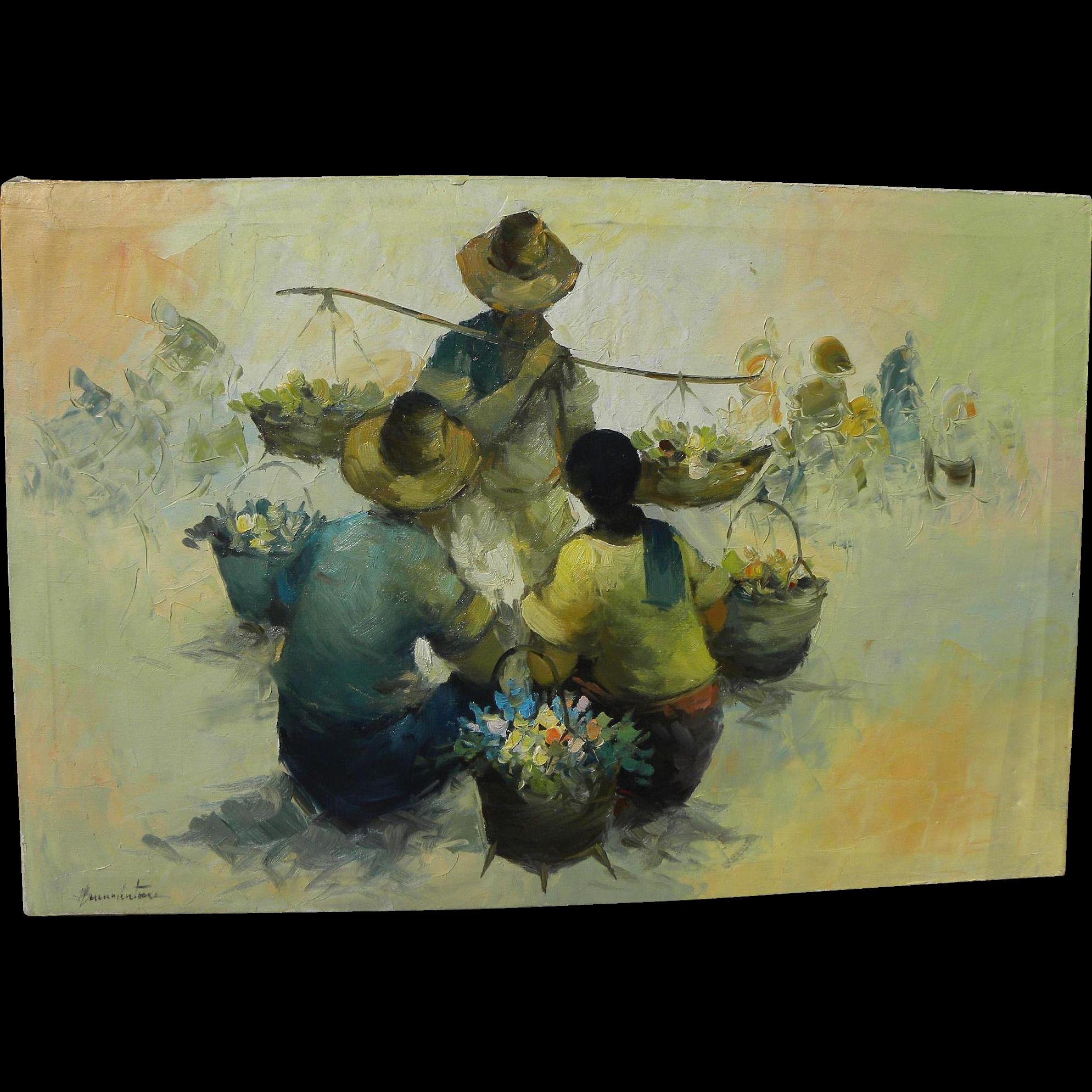 CESAR (or ALFREDO) BUENAVENTURA Filipino art large oil painting