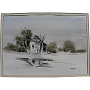ROBERT UECKER (1929-2005) California watercolor art painting of small building in a landscape