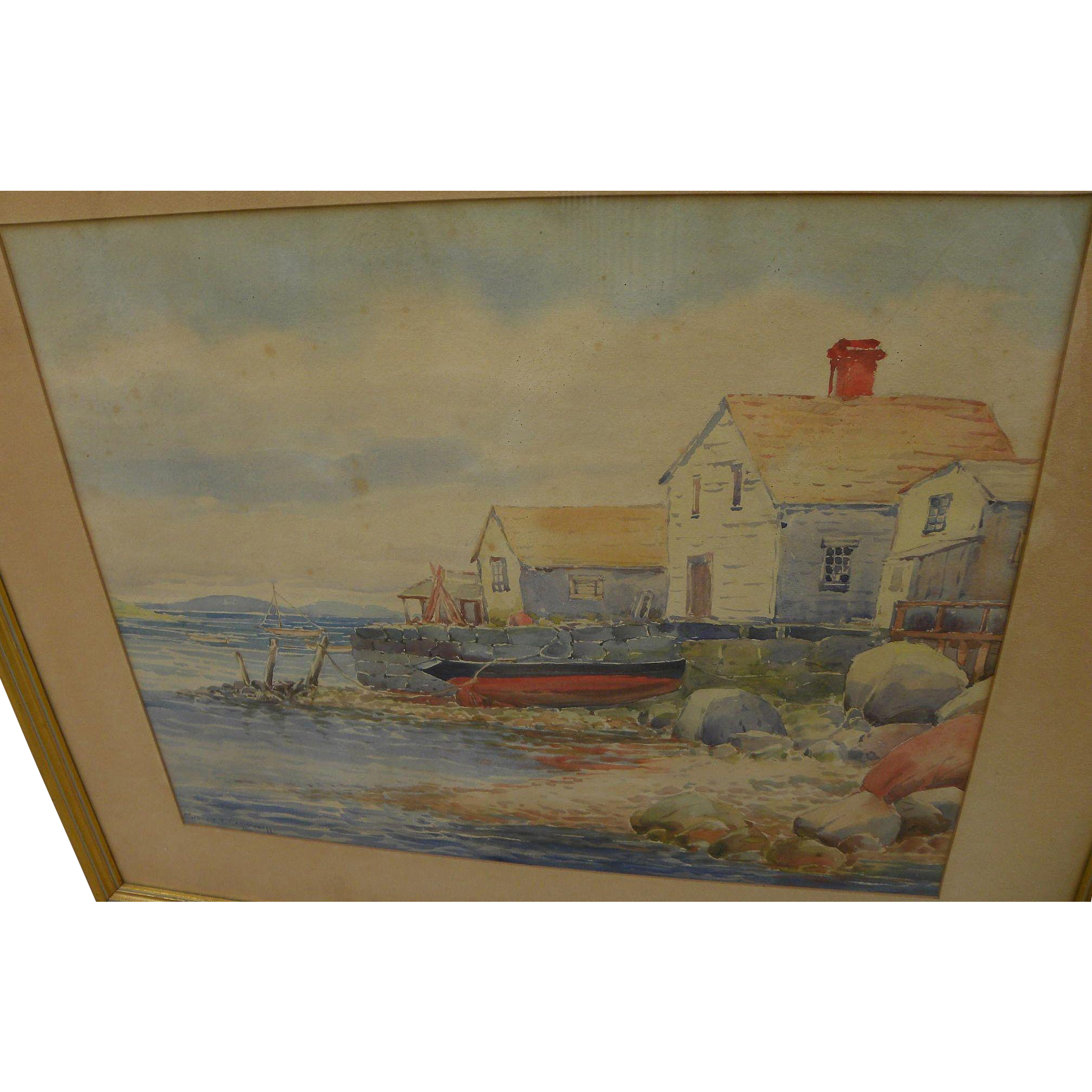 SIDNEY T. CALLOWHILL (1867-1939) watercolor painting of New England coastal shacks by Arts and Crafts decorator and artist