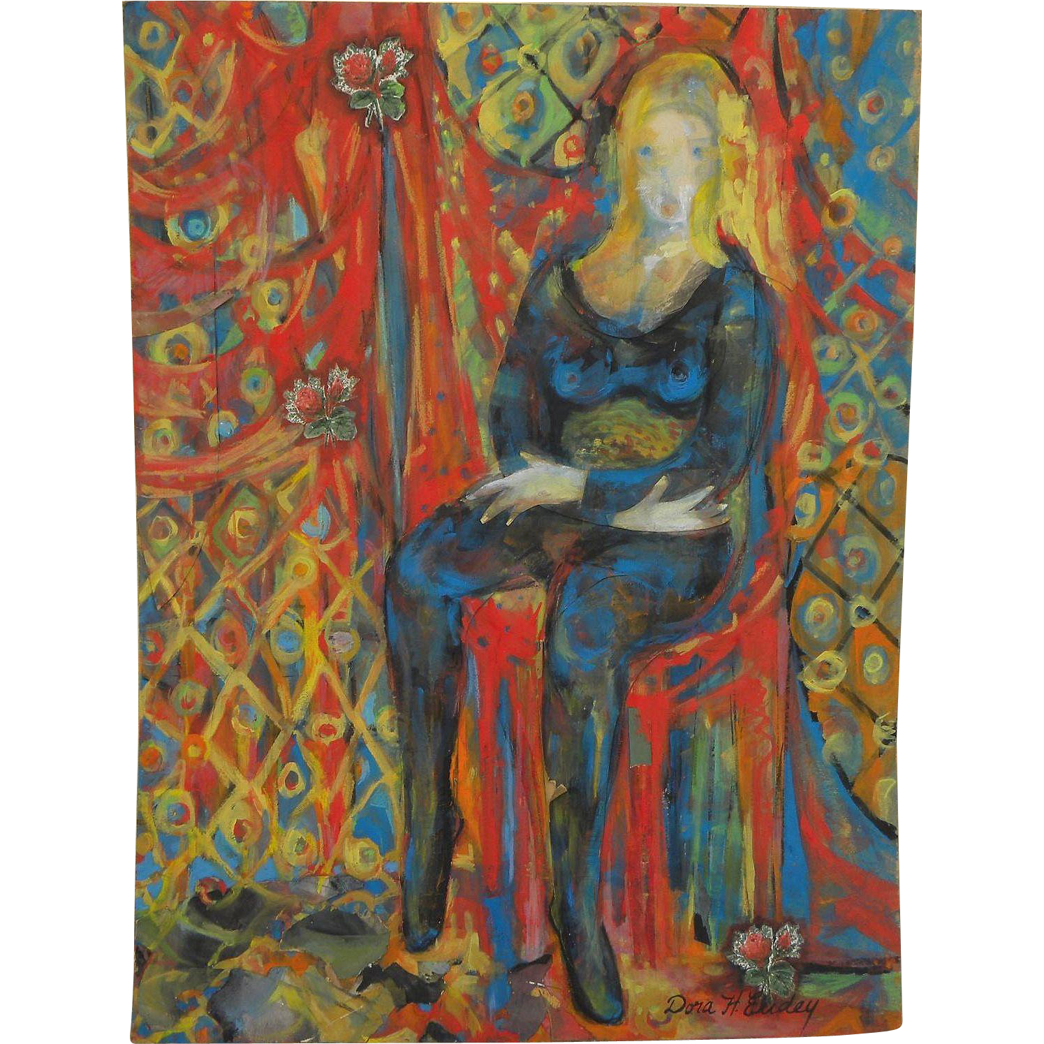 DORA HIGGINS EUDEY (1909-2006) colorful figural painting by listed California artist