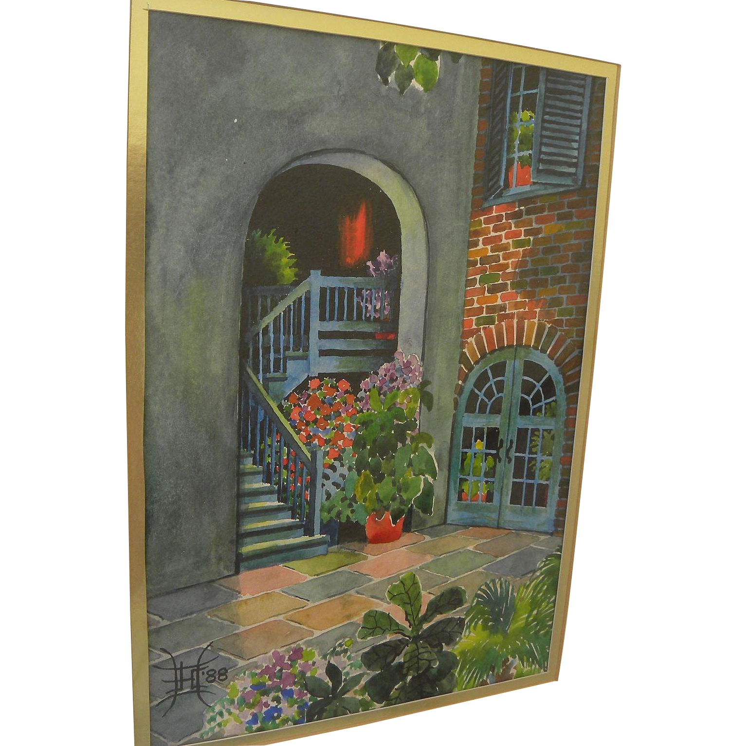 New Orleans art 1988 watercolor painting of Brulatour Courtyard by J. Harold Campbell