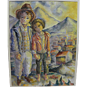 Central American art watercolor of two boys in volcano landscape