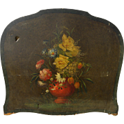 Circa 1920's leather fire screen painted with still life