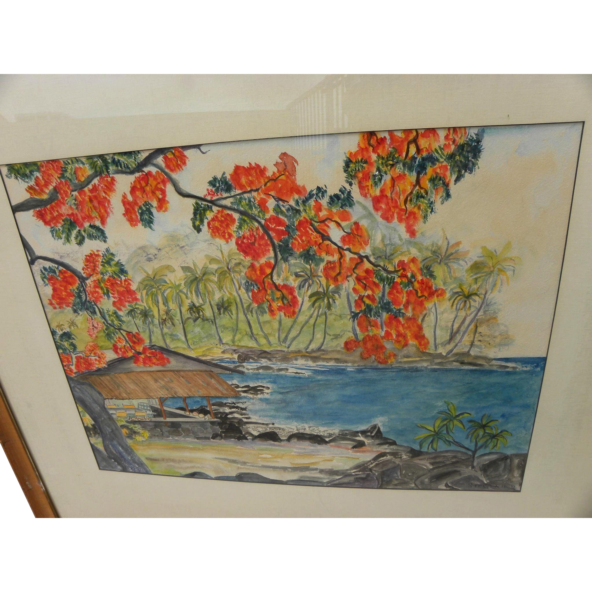Hawaiiana mid century watercolor painting of a coastal patio with palms and poinciana