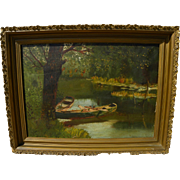 Circa 1910 American painting of canoes in a quiet creekside landscape