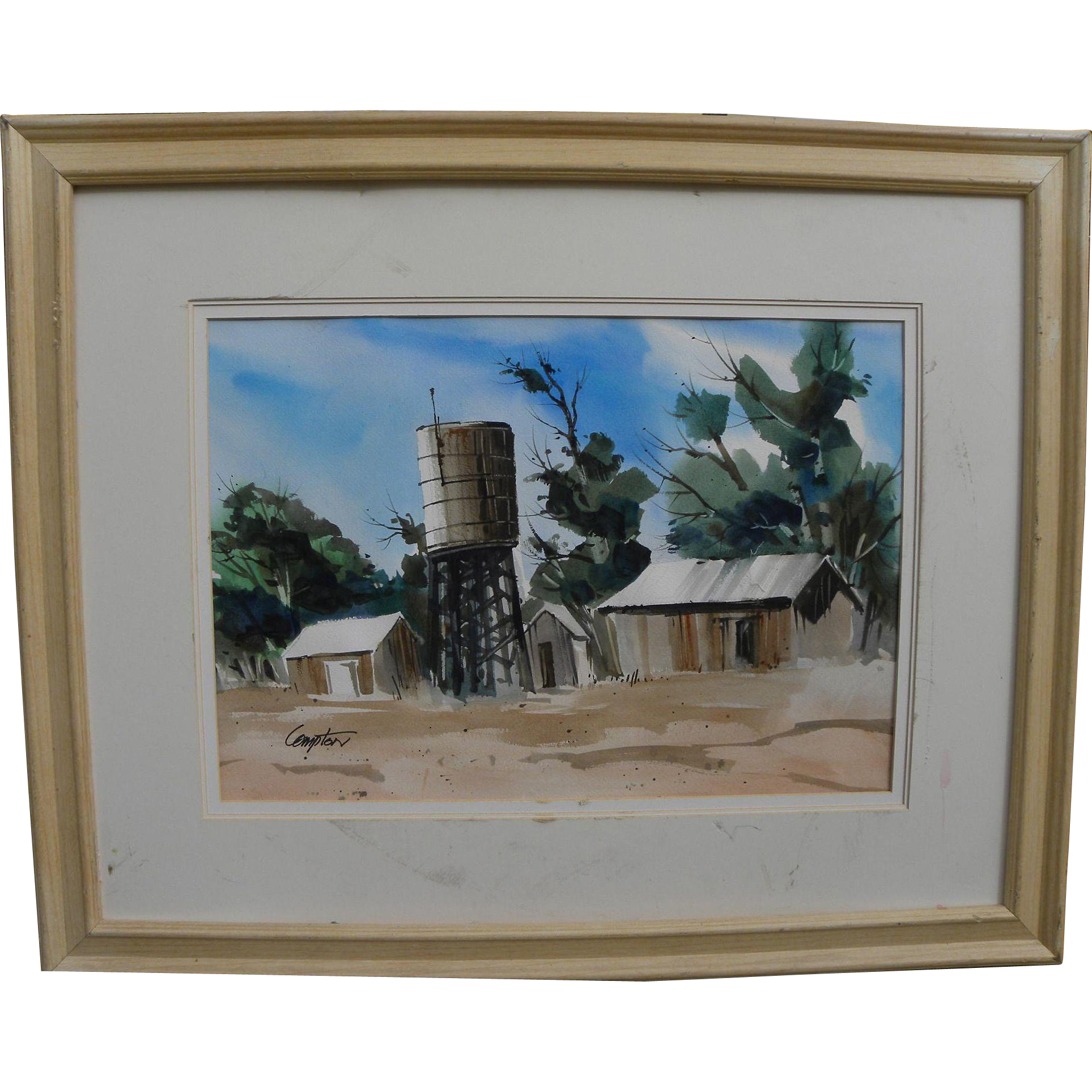 Contemporary California watercolor painting of outbuildings in a dry landscape signed Compton