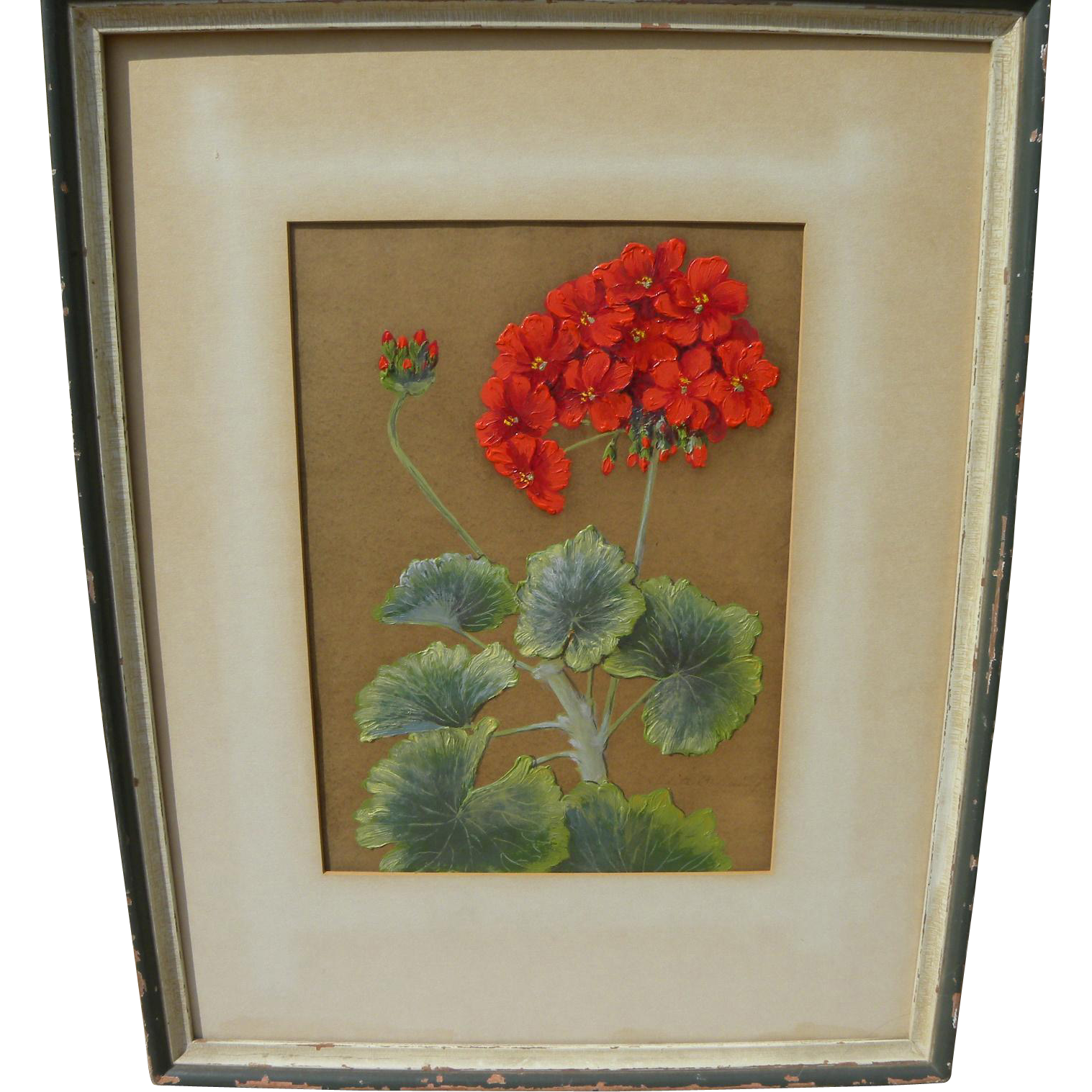 EDITH BRUNING (1899-1961) painting of geraniums by listed Northern California artist