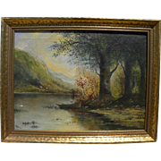 Hudson River style vintage circa 1930 painting signed Heyne