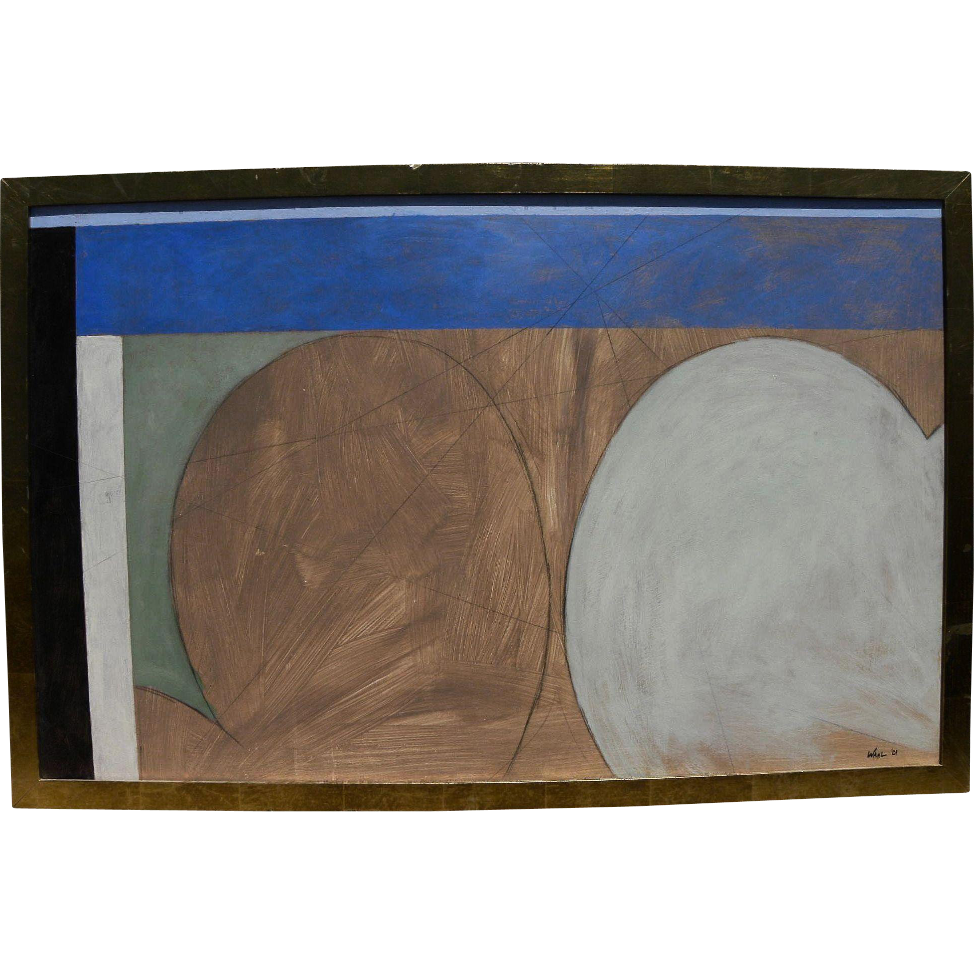 Striking large contemporary abstract painting signed WAHL dated 2001