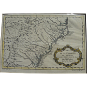 Scarce 1757 map of Carolinas and Georgia by early French cartographer Jacques Nicolas Bellin