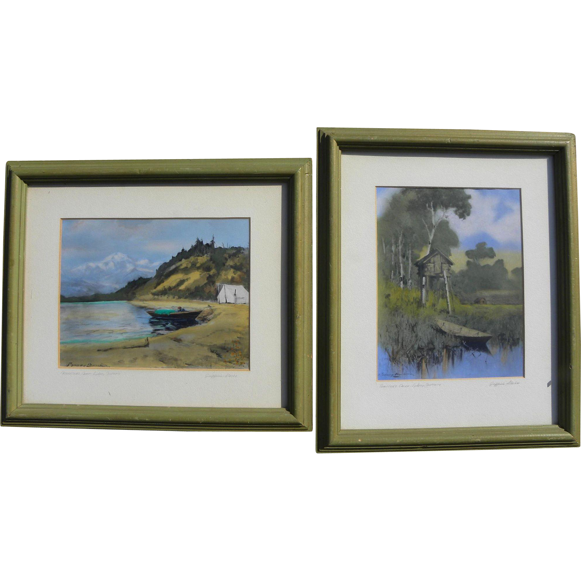 Alaskana two Sydney Laurence (1865-1940) signed colored Alaska scene prints by Griffin's