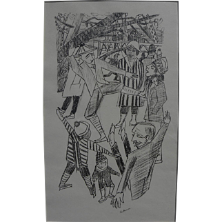 """MAX BECKMANN (1884-1950) pencil signed lithograph """"Eislauf"""" (Ice Skating) 1922 by the major German Expressionist artist"""