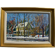 BEN EISENSTAT (1915-2001) impressionist painting of a house in winter by well listed Pennsylvania artist illustrator